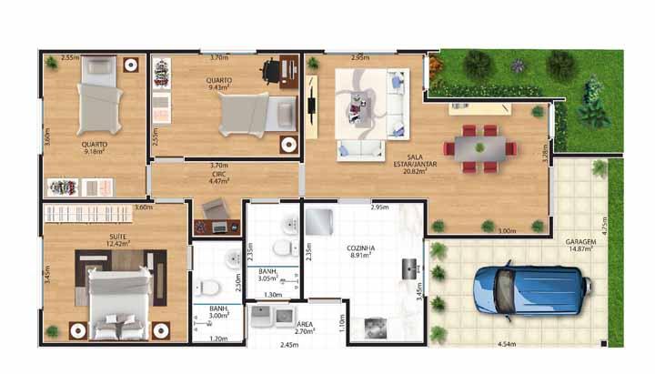 A planta baixa dele inclui três quartos, sendo uma suíte, garagem e sala de estar e jantar integradas