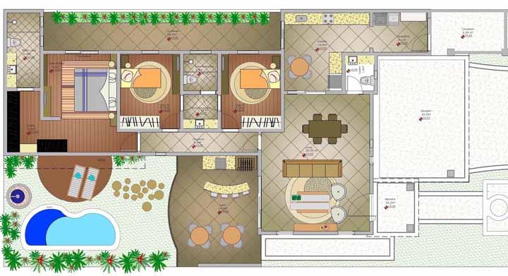 A parte interna dela reforça ainda mais essa ideia: repare que há espaço até mesmo para uma piscina e um terraço