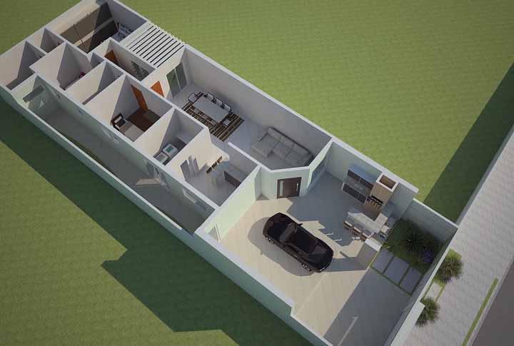Mas a planta em 3D revela muito mais do que a fachada poderia permitir; aqui é possível ver a varanda sendo compartilhada com a garagem e os quartos localizados mais ao fundo do terreno