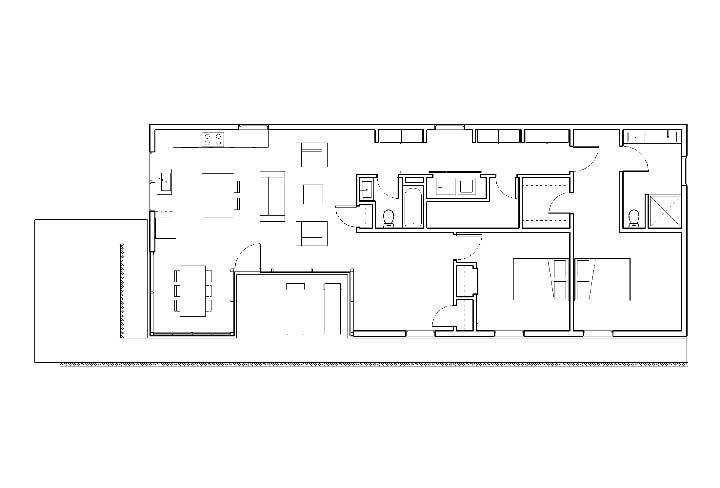 Já por dentro, a planta baixa com três quartos revela a preocupação em integrar os ambientes e oferecer conforto aos moradores
