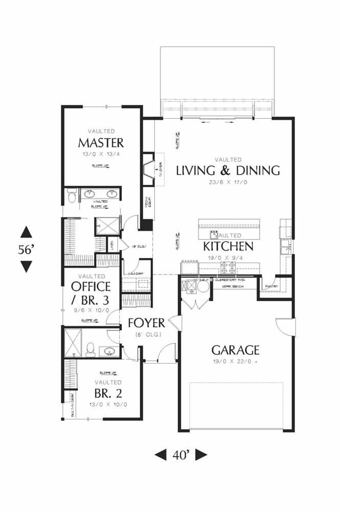 Por dentro ela não poderia ser diferente: a planta baixa da House Plans mostra uma casa bem dividida e com os cômodos necessários para a família