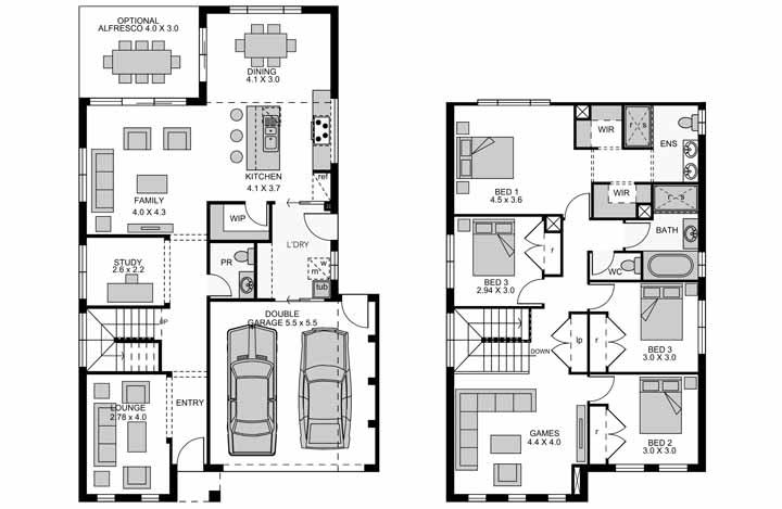 E na parte interna, a planta baixa traz uma casa dividida em dois pavimentos, que inclui quatro quartos, uma sala de jogos e um estúdio