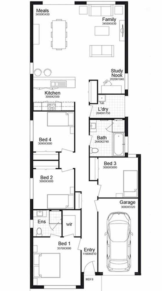 A planta baixa, por sua vez, apresenta um projeto amplo com quatro quartos, garagem e salas de estar e jantar integradas