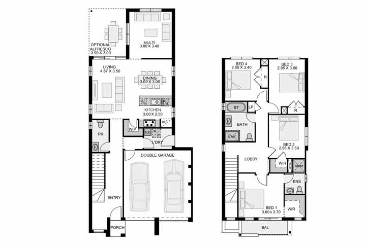 Enquanto a planta baixa da casa revela um projeto de quatro quartos e garagem para duas vagas