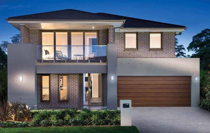 Similar às propostas anteriores, essa casa sobrado da Eden Brae Homes, no entanto, traz uma varanda aconchegante na fachada
