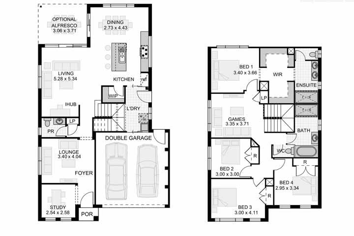 A planta baixa da casa é formada por dois pavimentos, sendo que no primeiro estão os ambientes de uso comum e no segundo, os de uso particular, como os quartos