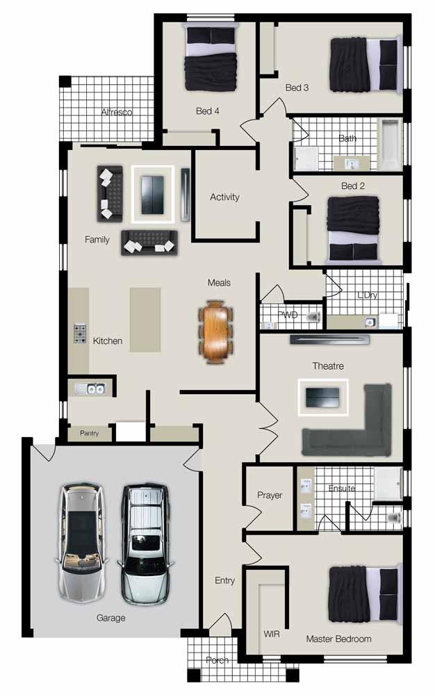 A planta baixa destaca uma casa ampla com quatro quartos e ambientes integrados