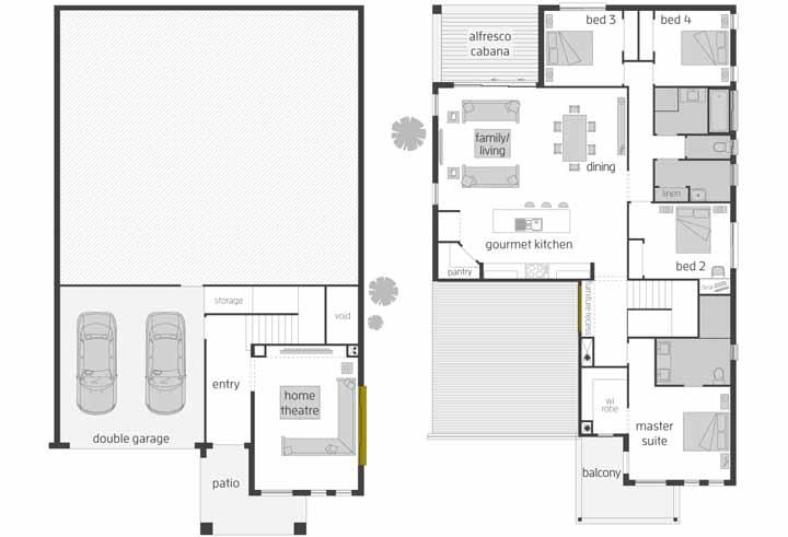 A planta baixa do escritório MCDonald revela os dois pavimentos desse sobrado e a forma com que os ambientes foram planejados para ele