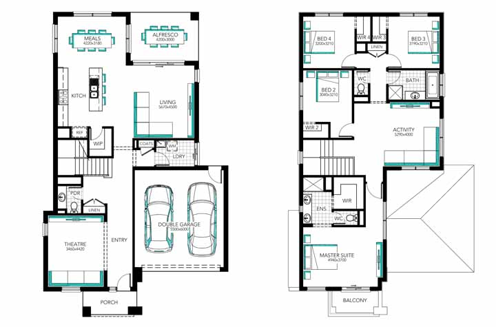A planta baixa do sobrado revela uma casa de quatro quartos no pavimento superior e ambientes integrados no piso térreo