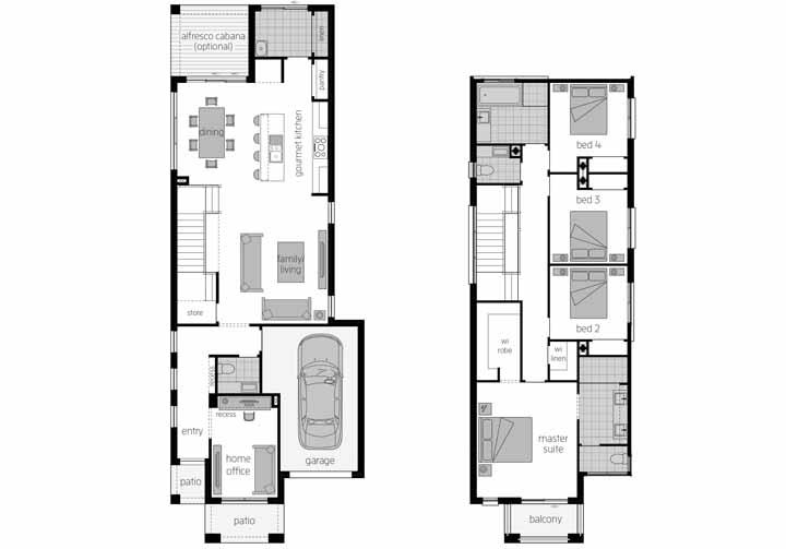 A planta baixa do sobrado traz uma ampla área de convivência social no pavimento térreo, enquanto o segundo piso ficou reservado para os quartos e a varanda