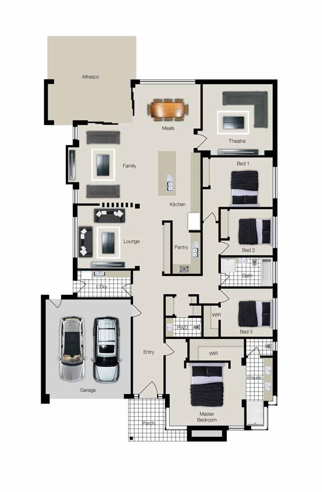 Mas não tem problema, porque a planta baixa revela tudo o que tem lá dentro: garagem para dois carros, quatro quartos, ambientes integrados
