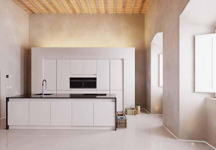O porcelanato líquido dessa cozinha ganhou pontos de luz embutidos