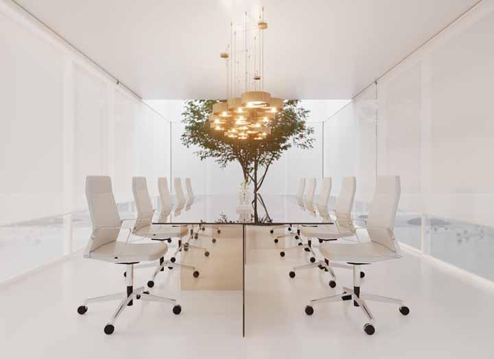 O piso branquíssimo de porcelanato líquido faz o escritório levitar