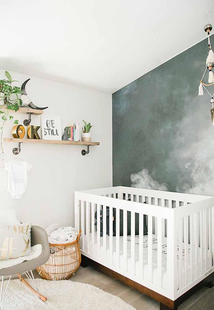 Para compor sua decoração, você pode escolher uma parede de destaque para aplicar um efeito em tinta diferente