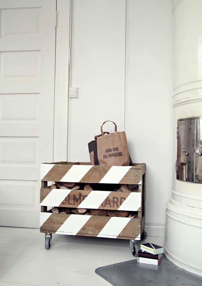 Pode ser uma ótima opção para guardar as madeiras para colocar na lareira