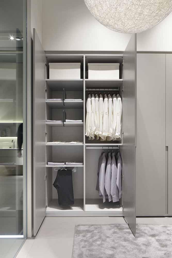 Guarda-roupa planejado cinza: moderno e cheio de estilo