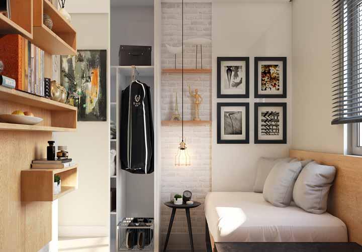 Aqui, o guarda-roupa fica camuflado na parede; ao fechá-lo e como se ele nem existisse no quarto