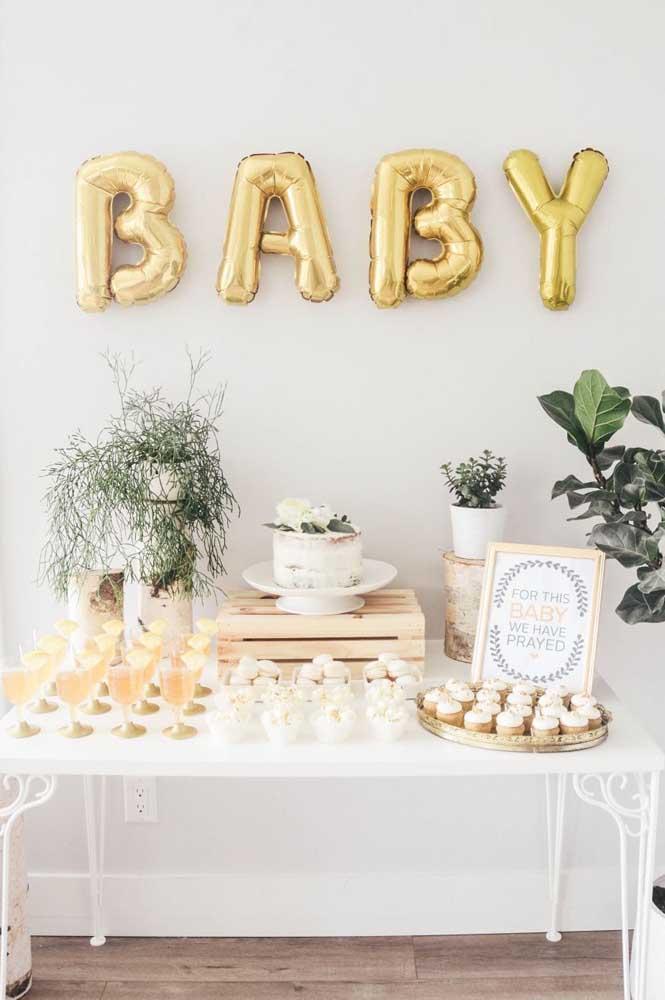 Faça uma decoração mais sofisticada no chá de bebê
