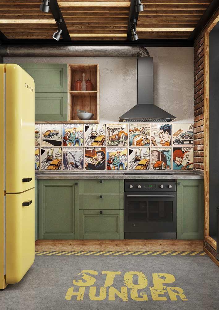 Agora se você procura por um revestimento divertido para sua cozinha pode investir em um inspirado nas histórias em quadrinhos