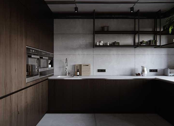 Nada como um revestimento de cimento queimado para dar aquele toque de modernidade à cozinha