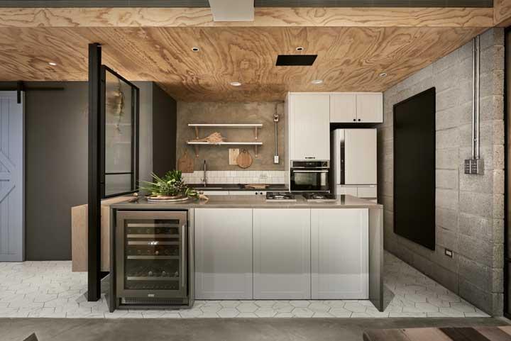 E o que acha de usar blocos de concreto sem acabamento na cozinha? É rústico, moderno e inusitado