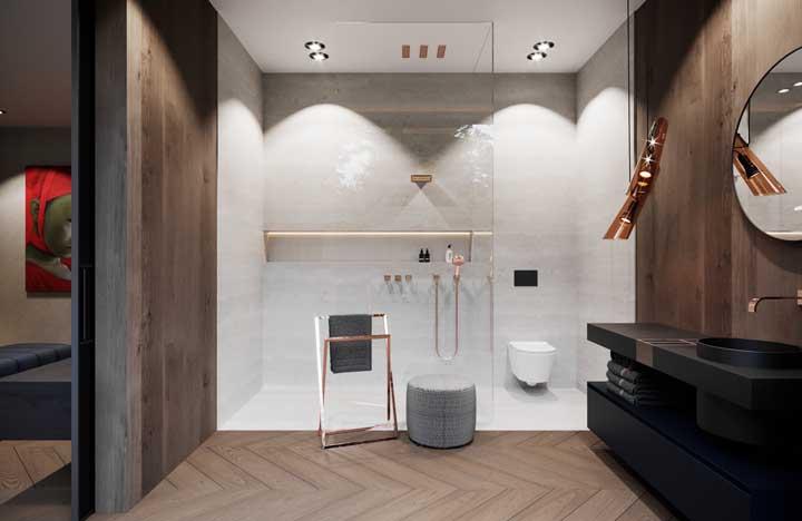 Um banheiro moderno exige detalhes sofisticados