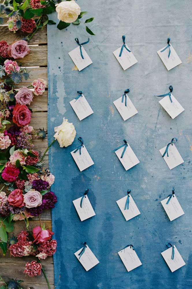 Mural de recados com fundo azul emoldurado por flores rosas e roxas