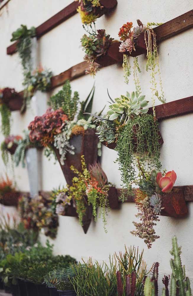 Veja como você não precisa de muito para criar um jardim suspenso incrível: ripas de madeira e pequenos vasos de suculenta, está pronto!