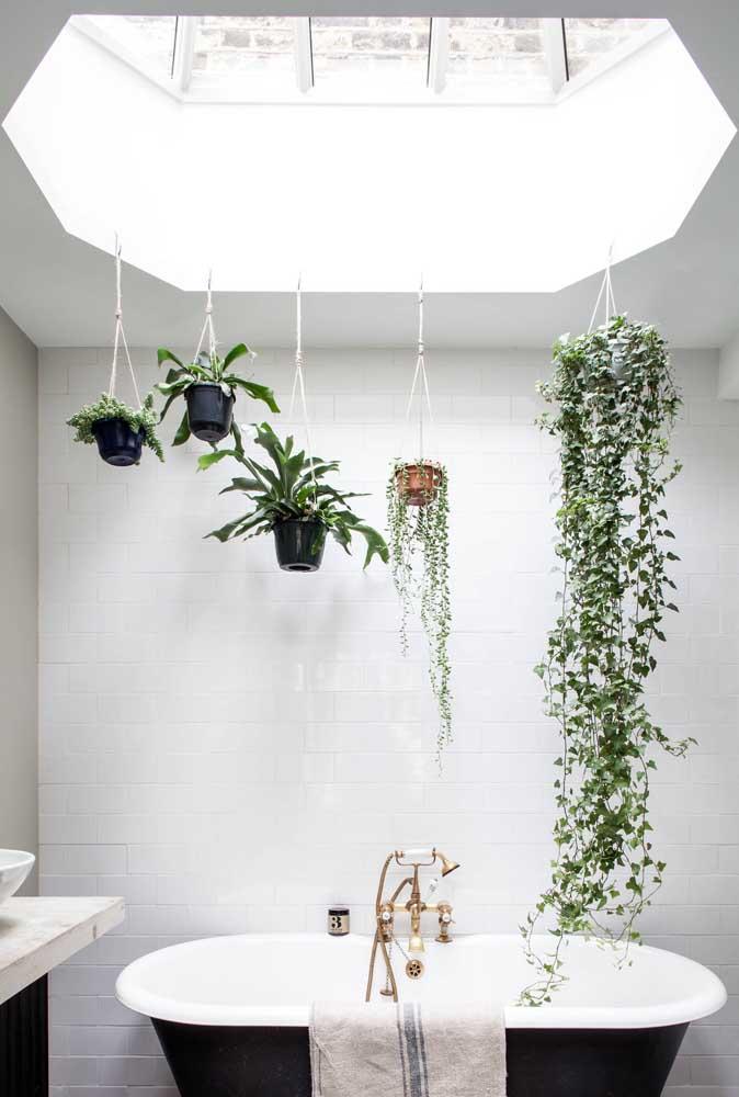 O que fazer com toda a claridade que entra no banheiro? Simples! Um jardim suspenso