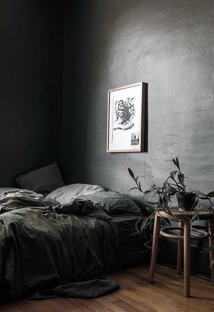 Há quem prefira quarto preto no estilo mais dark, ou seja, com poucos detalhes na decoração.