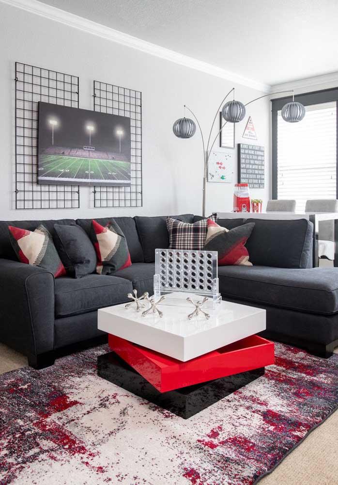 Olha como fica linda uma decoração com as cores vermelha e cinza que podem ser usadas tanto nas cores dos móveis quanto nas cores dos objetos de decoração.