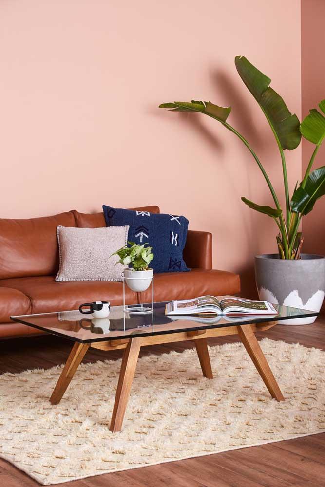 O sofá na cor marrom ficou perfeito nessa sala, já que a parede foi pintada com uma cor mais clara.