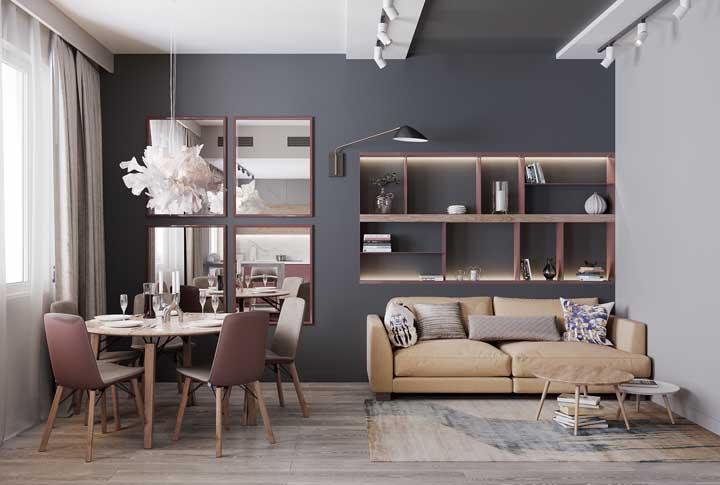 Incrível como apenas uma parede na cor cinza deixa o ambiente mais sofisticado, aconchegante e charmoso.