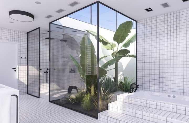 Outra opção de jardim de inverno feito dentro do banheiro quando se tem um espaço enorme.