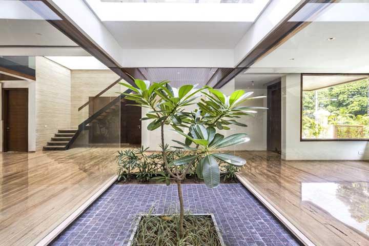 Você pode fazer um piso com solo para cultivar mudas e outro decorado para destacar uma pequena árvore.