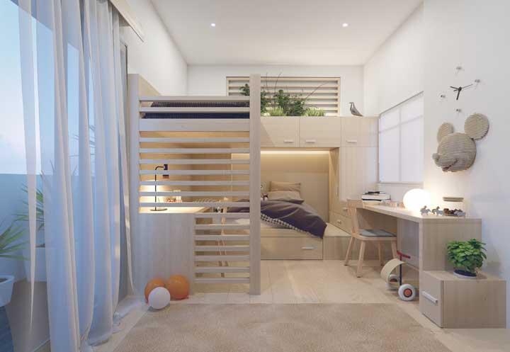 Que tal reservar um espaço para cultivar planta dentro do quarto? Isso é possível com esse modelo de beliche.