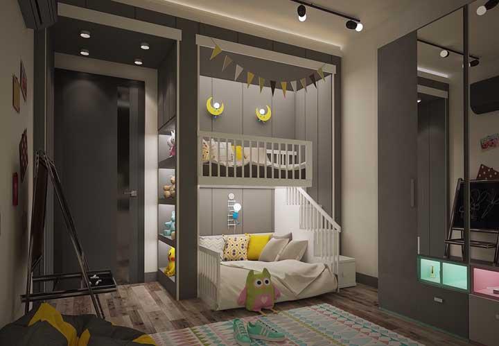 Capriche na decoração do beliche que deve seguir o mesmo padrão do restante do quarto.