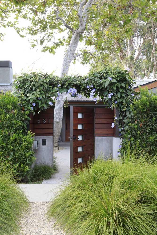 Portão de madeira é a melhor escolha para projetos onde a natureza é o ponto forte