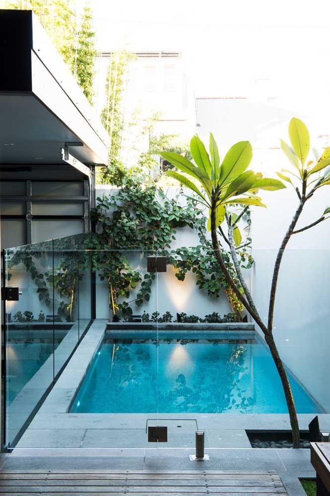 Aproveite a área entre o muro e a lateral da casa para construir uma piscina. Para deixar o espaço mais seguro, principalmente, para quem tem criança em casa, faça uma proteção de vidro.