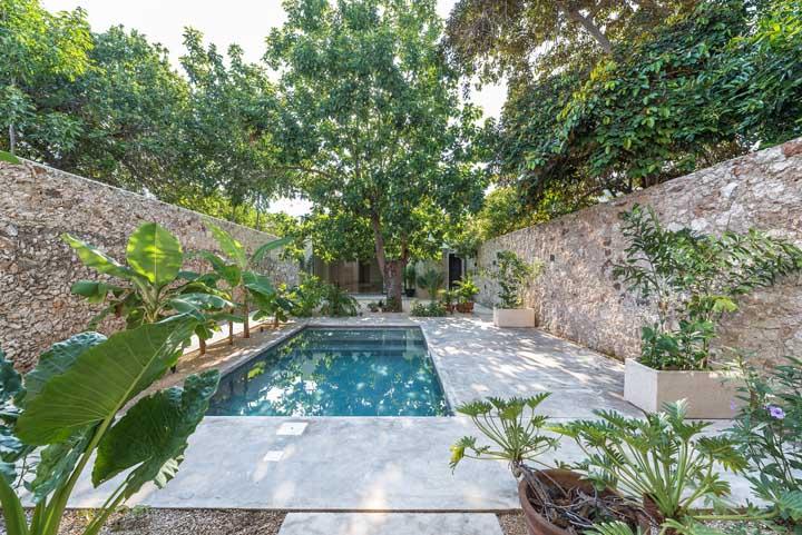 Em uma mesma área é possível construir uma piscina pequena, colocar vasos de plantas e plantar uma árvore.