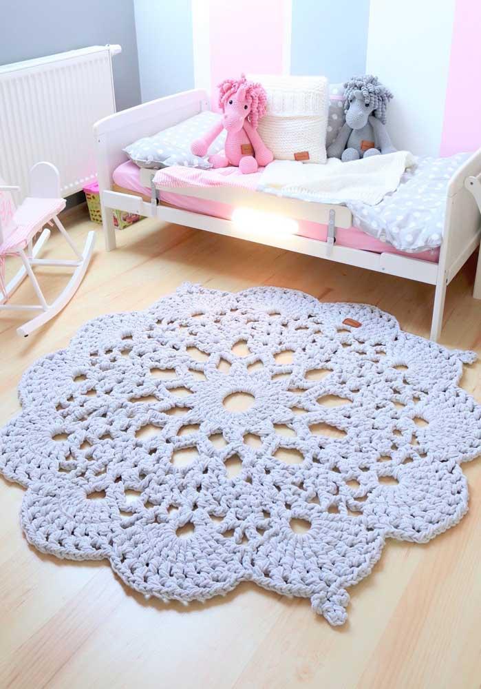 Tapete de crochê redondo branco para o quarto infantil