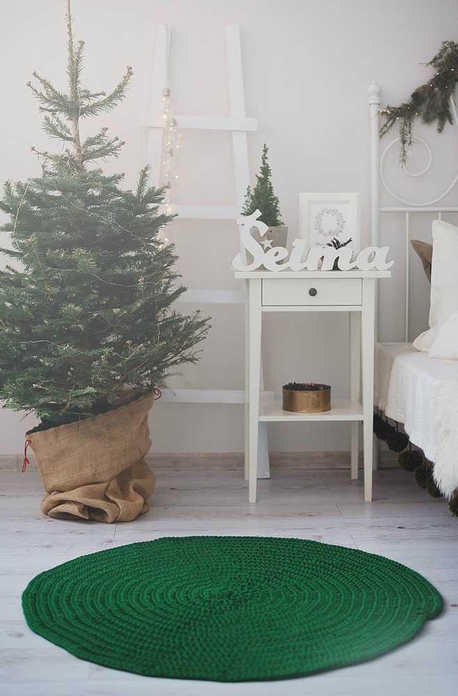 Tapete de crochê redondo verde para entrar no clima do natal