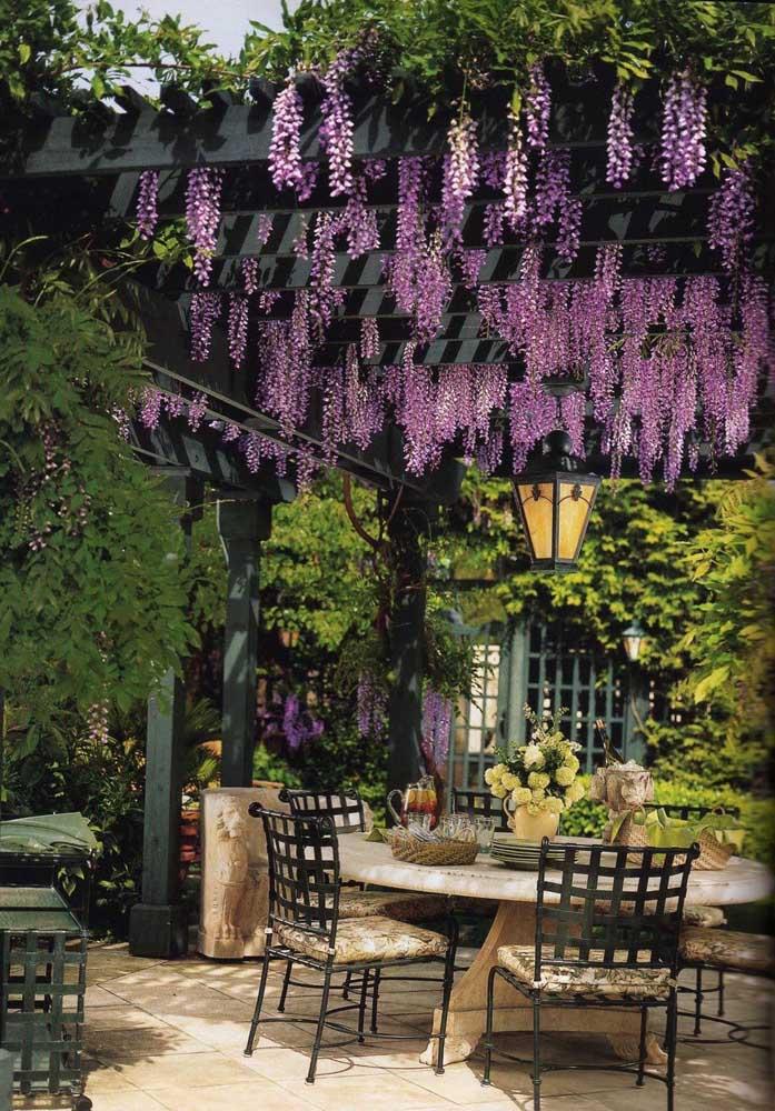 Aqui, o pergolado de madeira com cachos de glicínias lilás dispensa maiores comentários