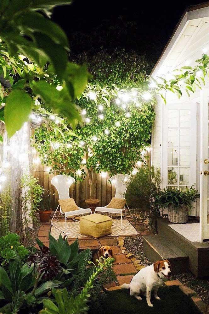 De noite, o visual do jardim pequeno fica totalmente modificado pelo projeto de iluminação