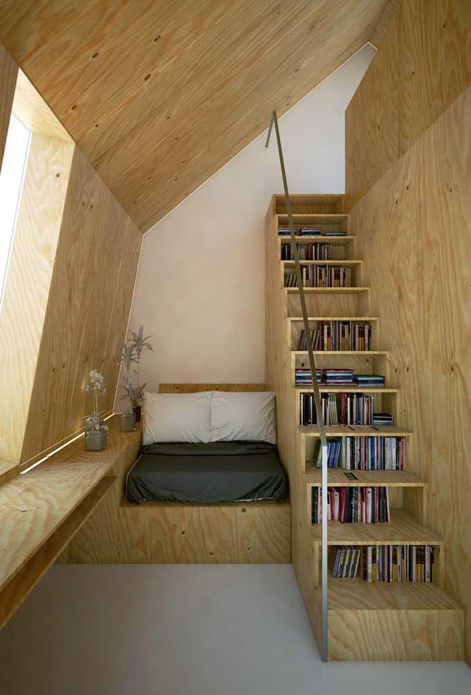 Móveis multifuncionais para atender o pequeno espaço adaptado ao cantinho da leitura