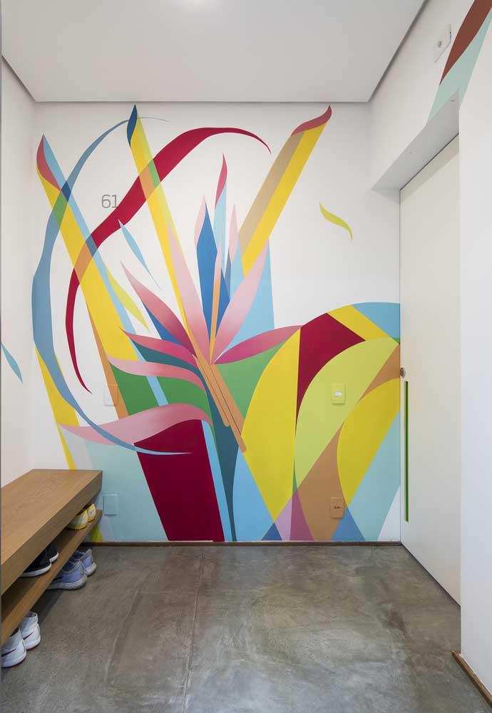 Mas se você quiser pode usar a versatilidade de uma parede colorida para contrastar com a sobriedade do piso de cimento queimado.