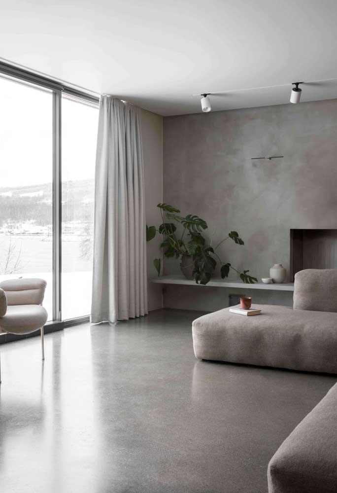 Se você deseja criar um ambiente mais clean, pode usar sem medo o cimento queimado, mas prefira os tons mais claros.