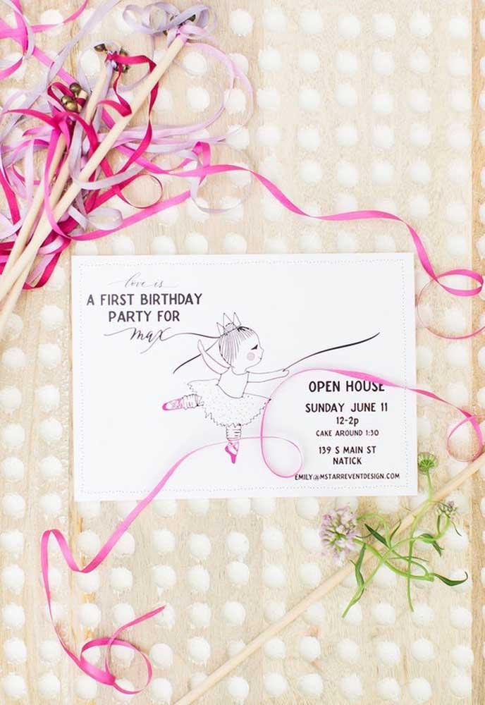 Um convite simples e delicado para chamar os convidados para a festa com o tema bailarina.