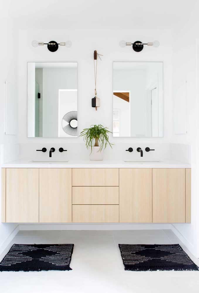 Gabinete de banheiro para casal: um lado para cada um