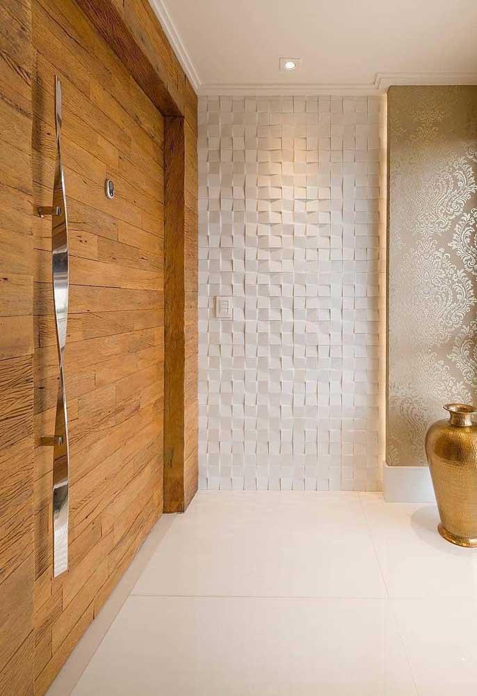 Gesso 3D para um hall de entrada cheio de elegância; dá até para achar que são pedras